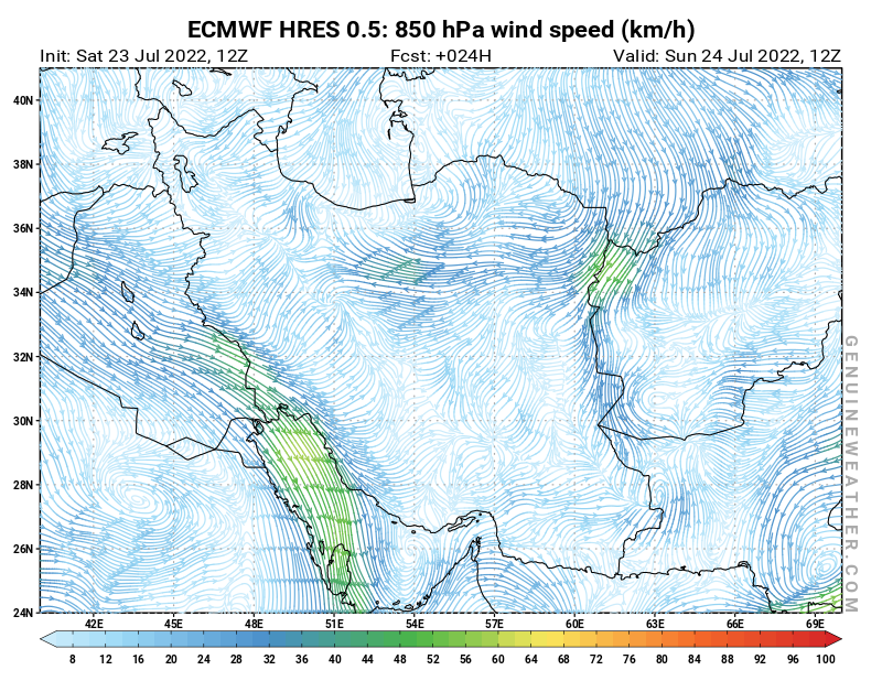 Islamic Republic of Iran map with 850 hPa wind speed by ECMWF HRES model