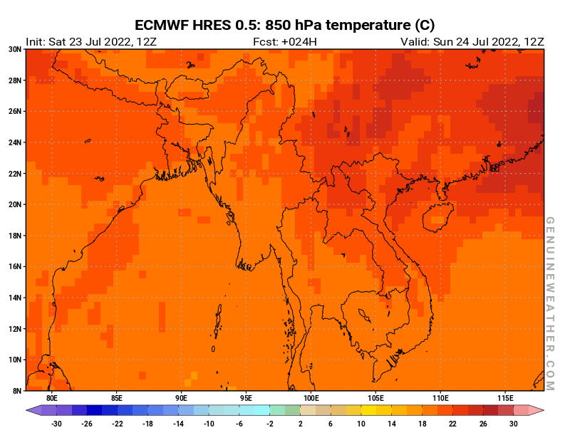 Myanmar (Burma) map with 850 hPa temperature by ECMWF HRES model
