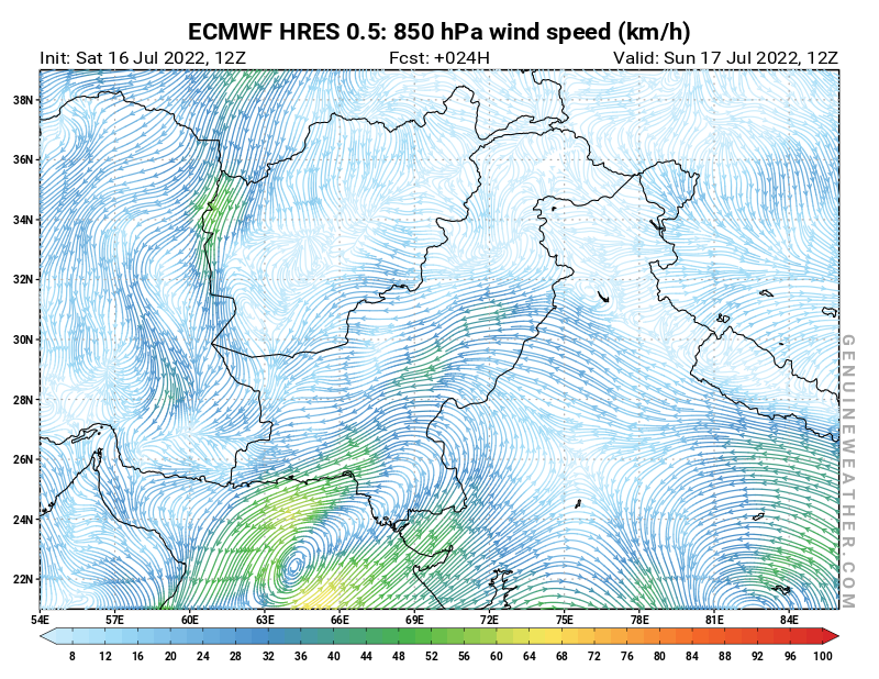 Pakistan map with 850 hPa wind speed by ECMWF HRES model