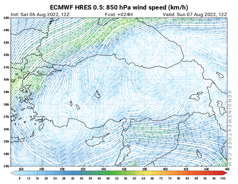 Turkey map with 850 hPa wind speed by ECMWF HRES model