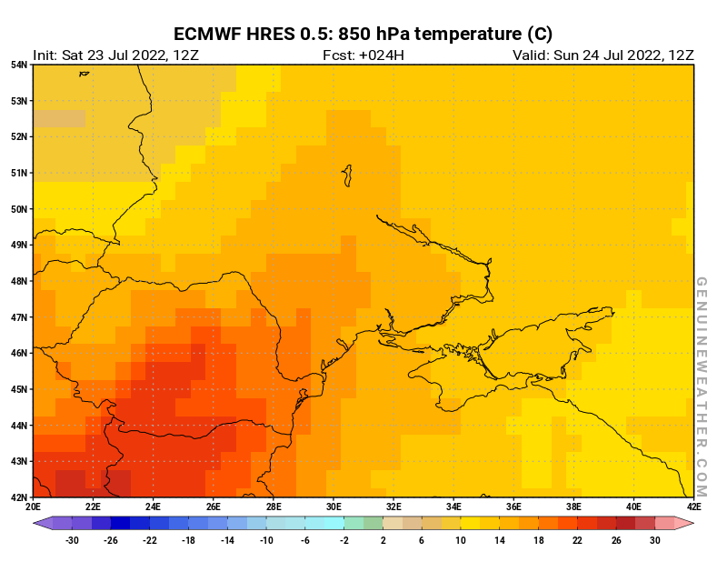 Ukraine map with 850 hPa temperature by ECMWF HRES model