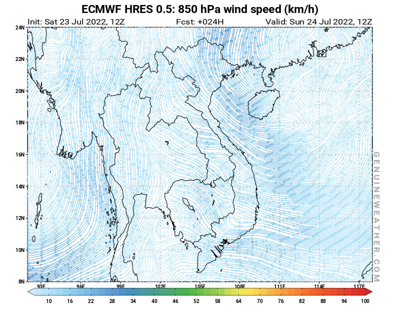 Vietnam map with 850 hPa wind speed by ECMWF HRES model