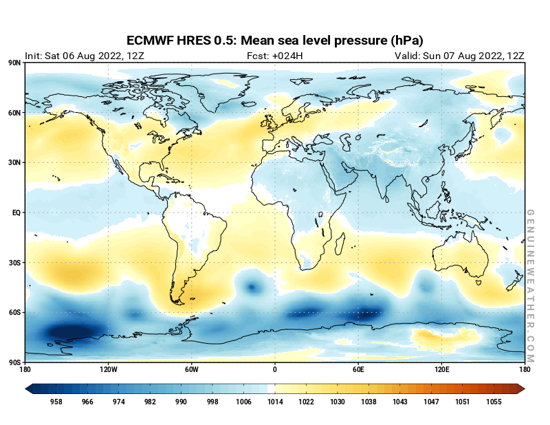 Global map with Mean sea level pressure by ECMWF HRES model