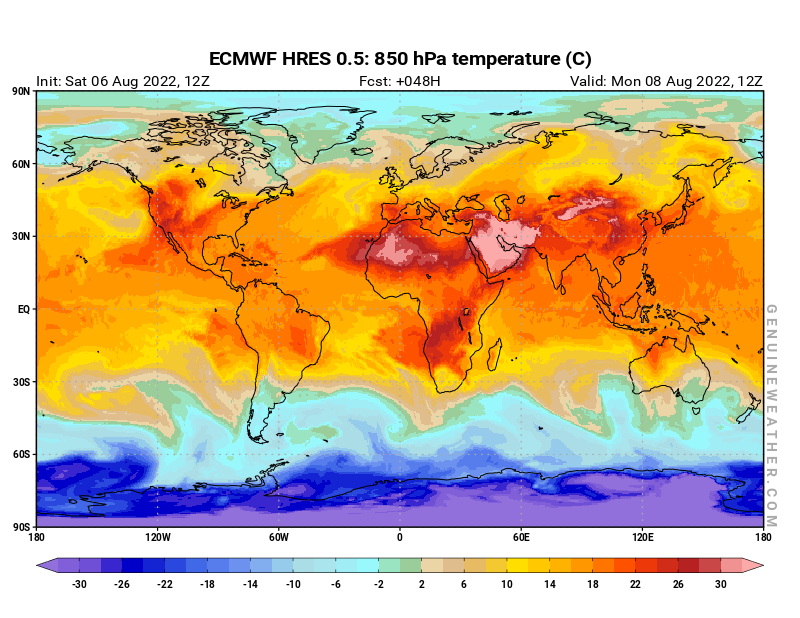 Next Global map with 850 hPa temperature by ECMWF HRES model