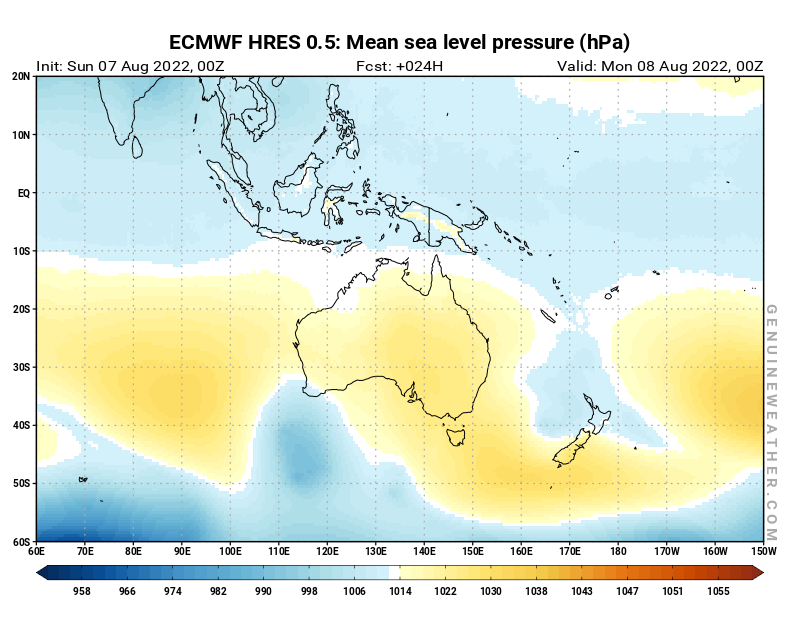 Oceania map with Mean sea level pressure by ECMWF HRES model
