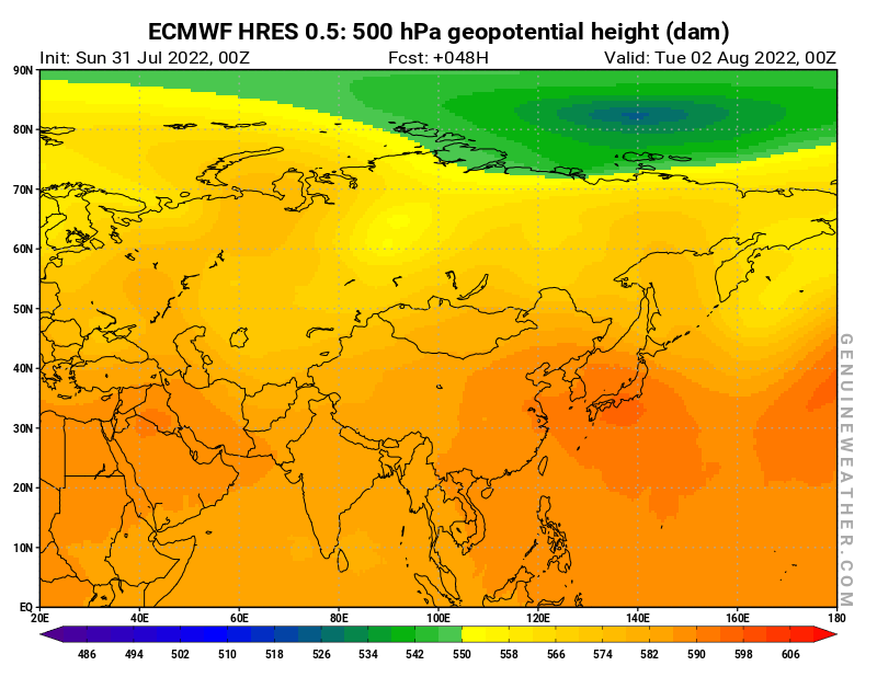 Next Asia map with 500 hPa geopotential height by ECMWF HRES model