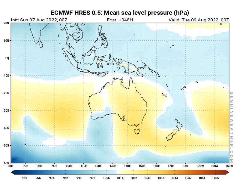 Next Oceania map with Mean sea level pressure by ECMWF HRES model