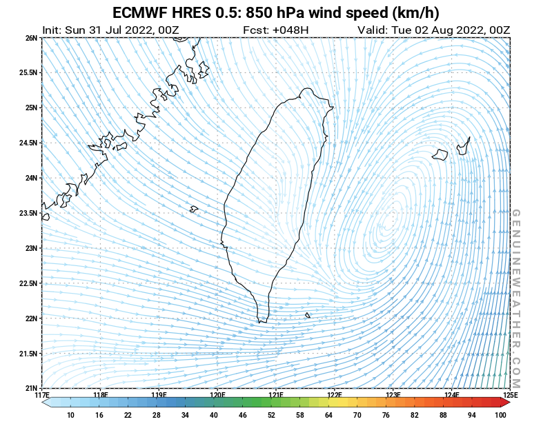 Next Taiwan map with 850 hPa wind speed by ECMWF HRES model