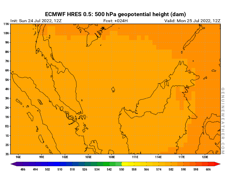 Malaysia map with 500 hPa geopotential height by ECMWF HRES model