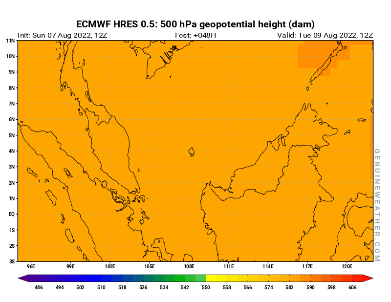 Next Malaysia map with 500 hPa geopotential height by ECMWF HRES model