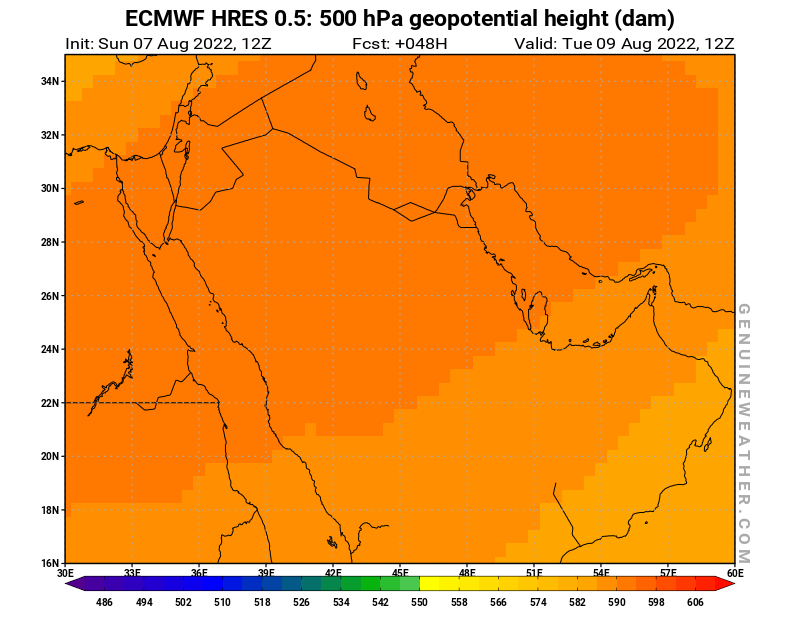 Next Saudi Arabia map with 500 hPa geopotential height by ECMWF HRES model