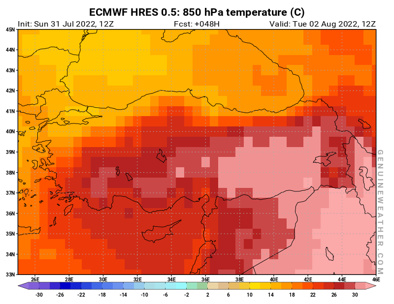 Next Turkey map with 850 hPa temperature by ECMWF HRES model