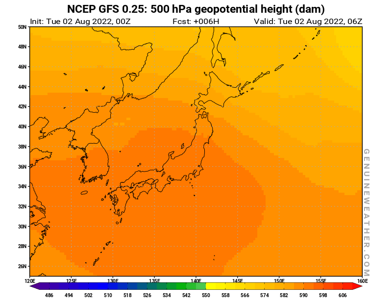 Japan map with 500 hPa geopotential height by NCEP GFS model