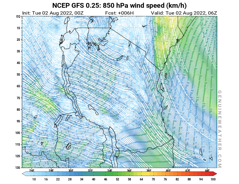 Tanzania map with 850 hPa wind speed by NCEP GFS model