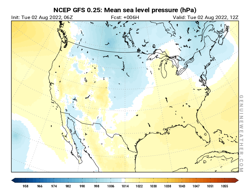United States map with Mean sea level pressure by NCEP GFS model