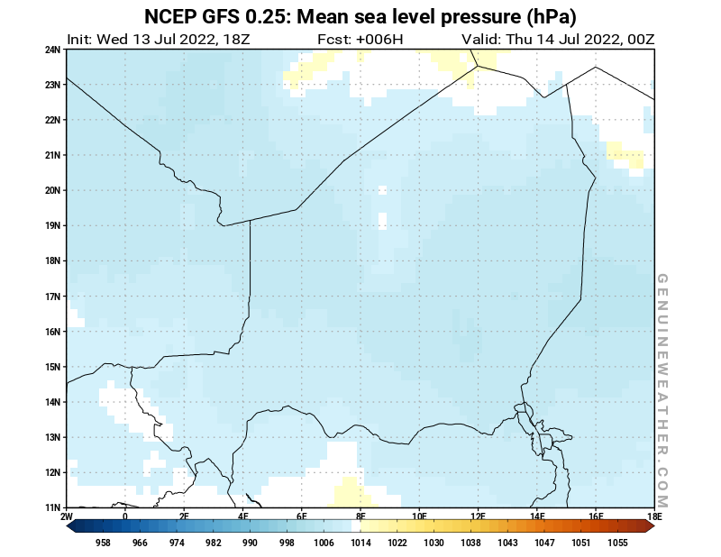 Niger map with Mean sea level pressure by NCEP GFS model