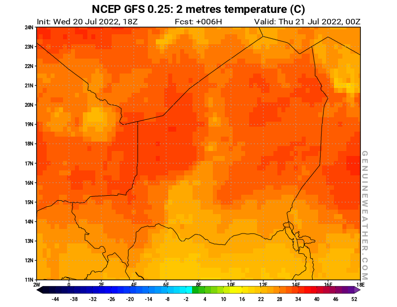 Niger map with 2 metres temperature by NCEP GFS model