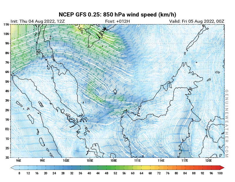 Next Malaysia map with 850 hPa wind speed by NCEP GFS model