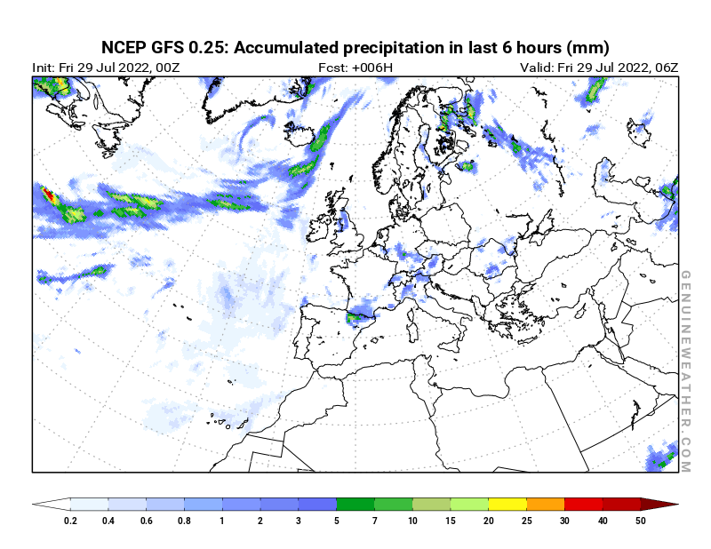 Europe map with Precipitation in 6 hours by NCEP GFS model