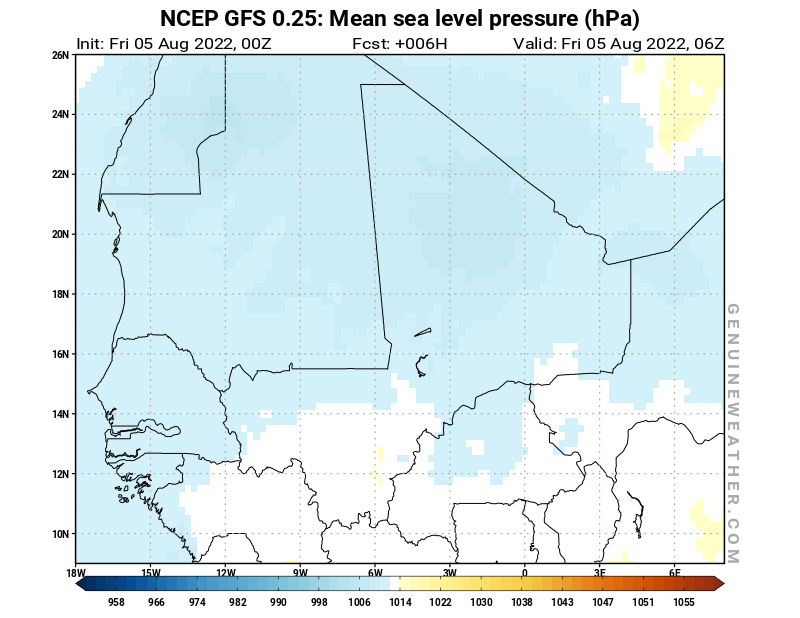 Mali map with Mean sea level pressure by NCEP GFS model