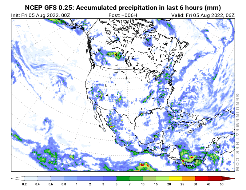 North America map with Precipitation in 6 hours by NCEP GFS model