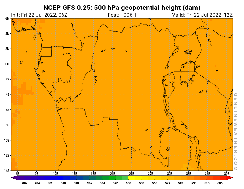 Democratic Republic of the Congo map with 500 hPa geopotential height by NCEP GFS model