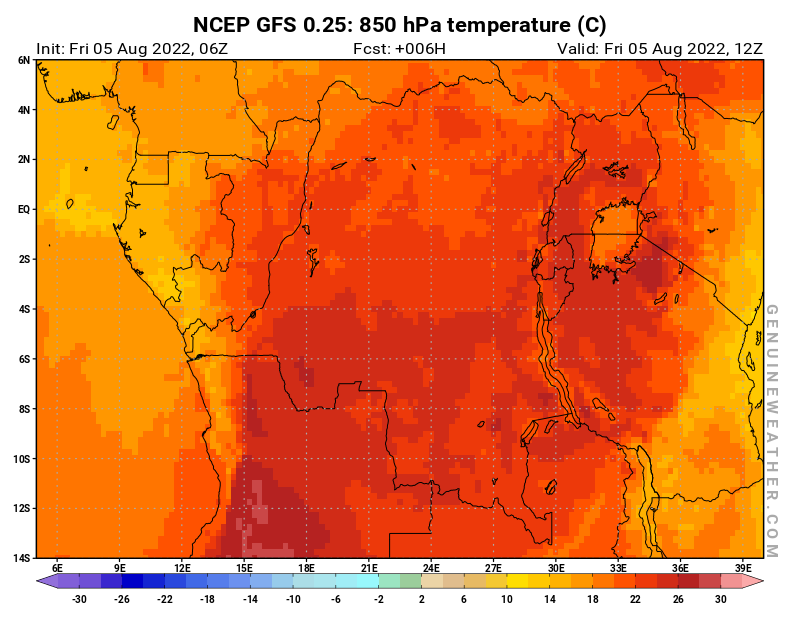 Democratic Republic of the Congo map with 850 hPa temperature by NCEP GFS model