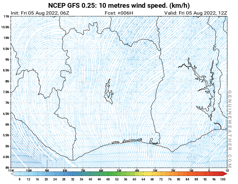 Ivory Coast map with 10 metres wind speed by NCEP GFS model