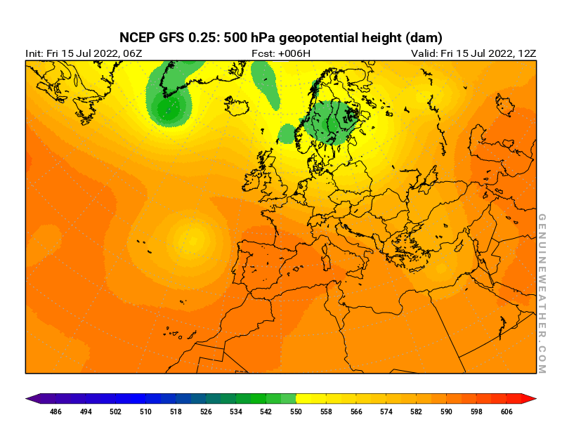 Europe map with 500 hPa geopotential height by NCEP GFS model