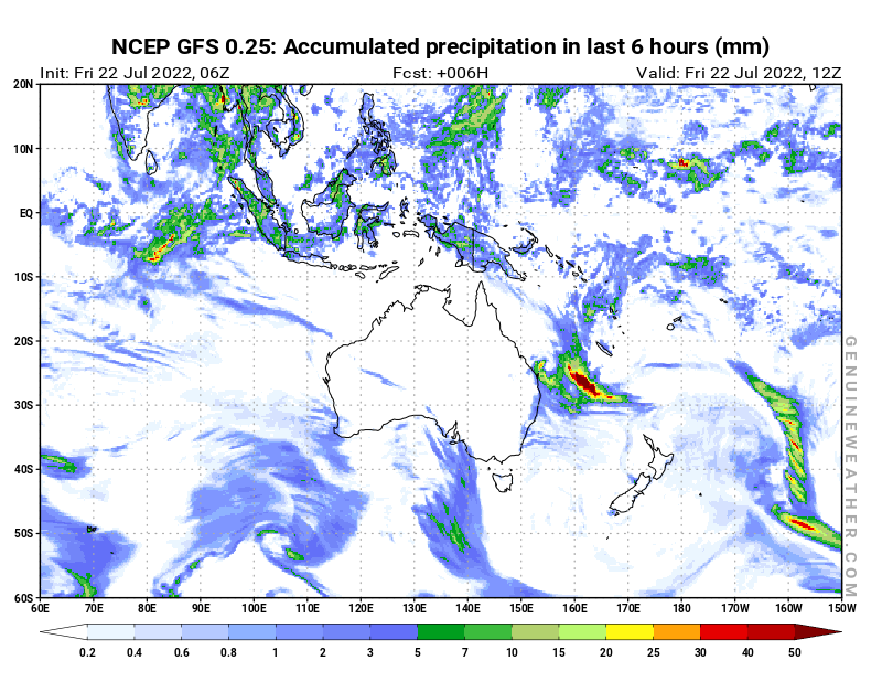 Oceania map with Precipitation in 6 hours by NCEP GFS model