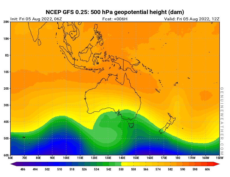 Oceania map with 500 hPa geopotential height by NCEP GFS model