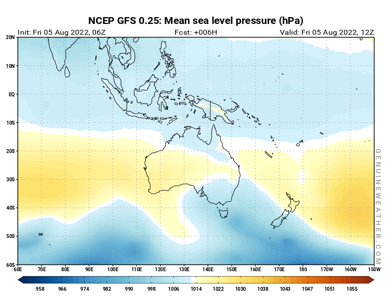 Oceania map with Mean sea level pressure by NCEP GFS model