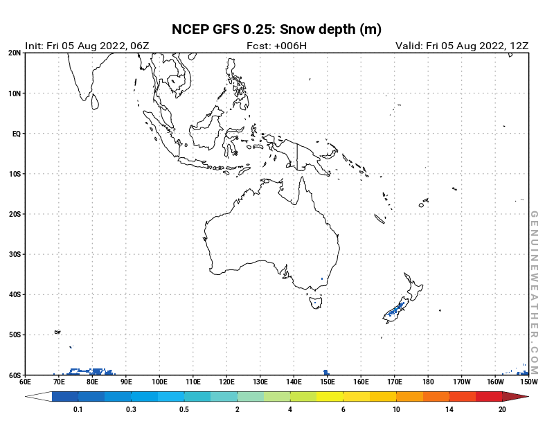 Oceania map with Snow Depth by NCEP GFS model