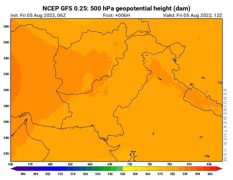 Pakistan map with 500 hPa geopotential height by NCEP GFS model