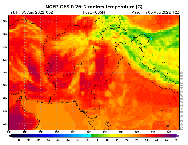 Pakistan map with 2 metres temperature by NCEP GFS model