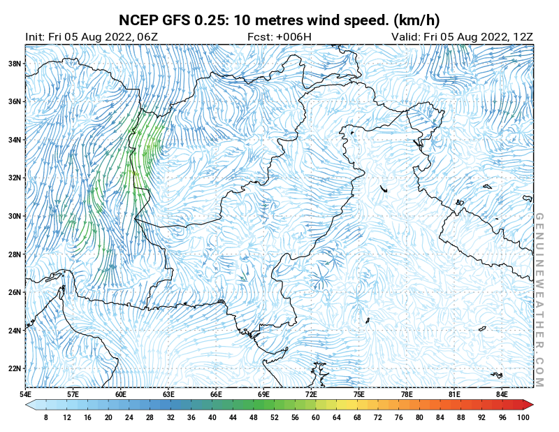 Pakistan map with 10 metres wind speed by NCEP GFS model