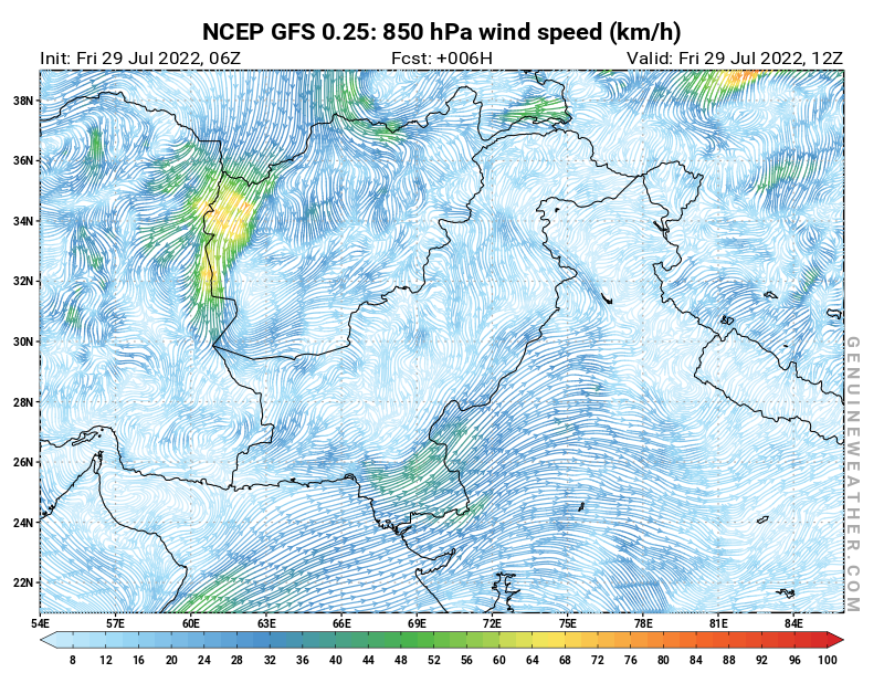 Pakistan map with 850 hPa wind speed by NCEP GFS model