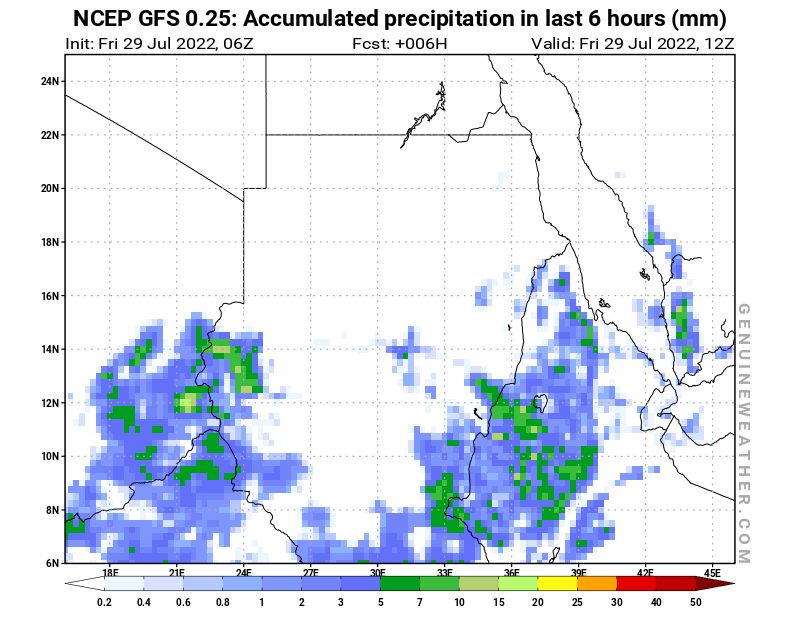 Sudan map with Precipitation in 6 hours by NCEP GFS model