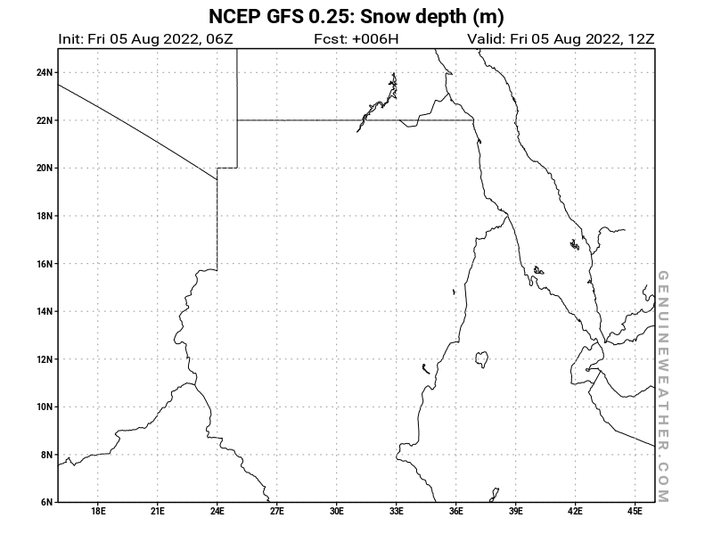 Sudan map with Snow Depth by NCEP GFS model