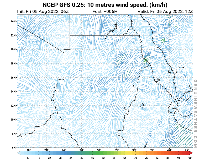 Sudan map with 10 metres wind speed by NCEP GFS model