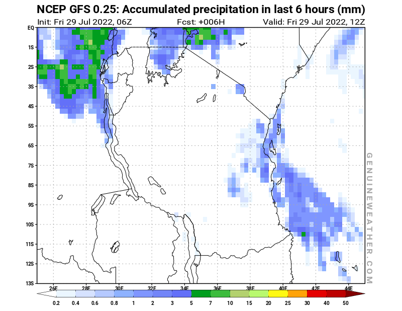Tanzania map with Precipitation in 6 hours by NCEP GFS model