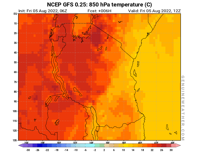 Tanzania map with 850 hPa temperature by NCEP GFS model