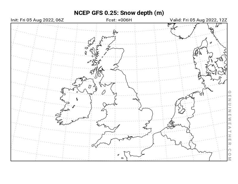 United Kingdom map with Snow Depth by NCEP GFS model