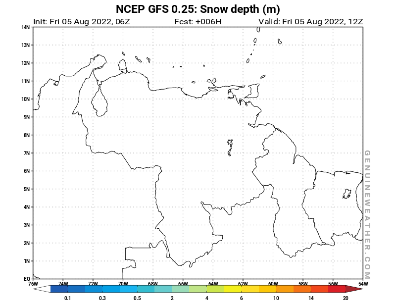 Venezuela map with Snow Depth by NCEP GFS model