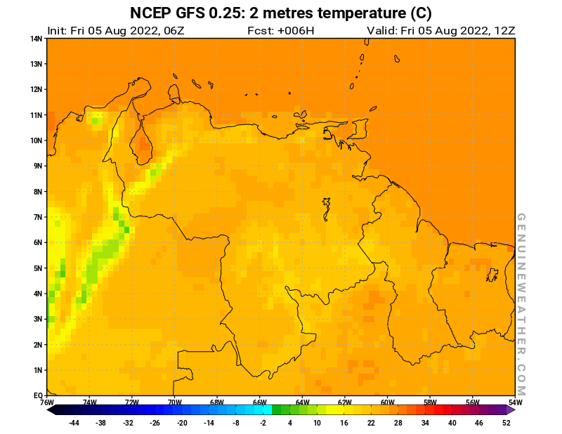 Venezuela map with 2 metres temperature by NCEP GFS model