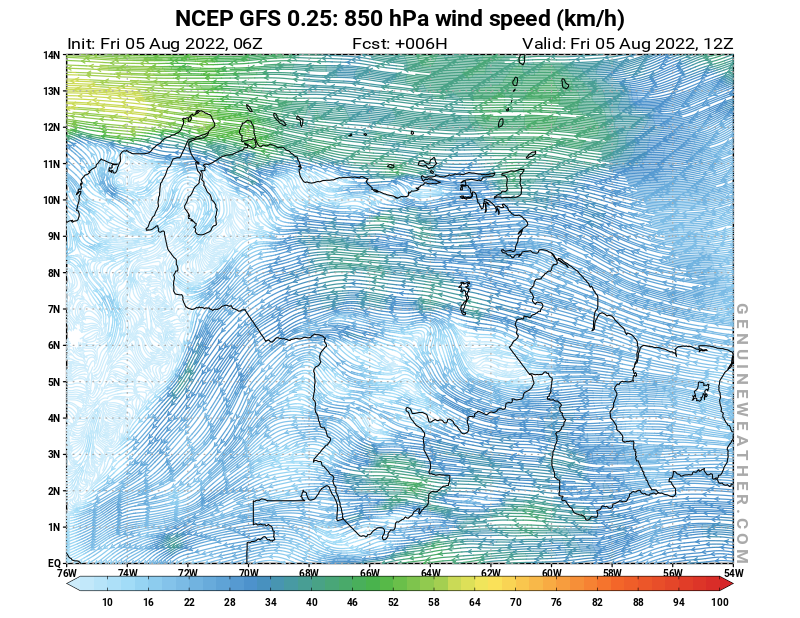 Venezuela map with 850 hPa wind speed by NCEP GFS model