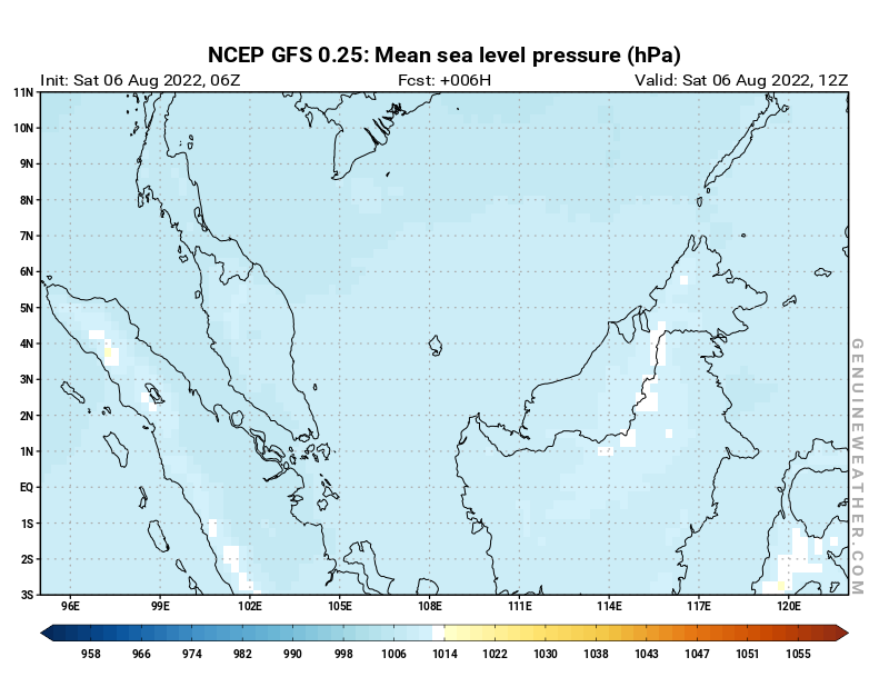 NCEP GFS - Malaysia - 06 UTC - Mean sea level pressure