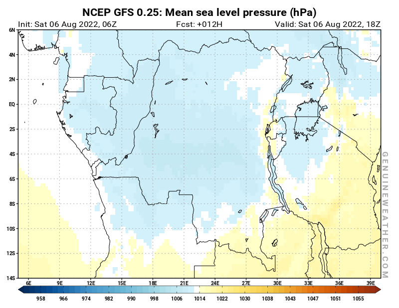 NCEP GFS - Democratic Republic of the Congo - 06 UTC - Mean sea level pressure - Bis