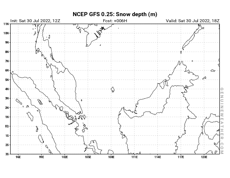 Malaysia map with Snow Depth by NCEP GFS model