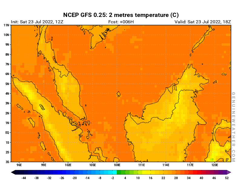 Malaysia map with 2 metres temperature by NCEP GFS model